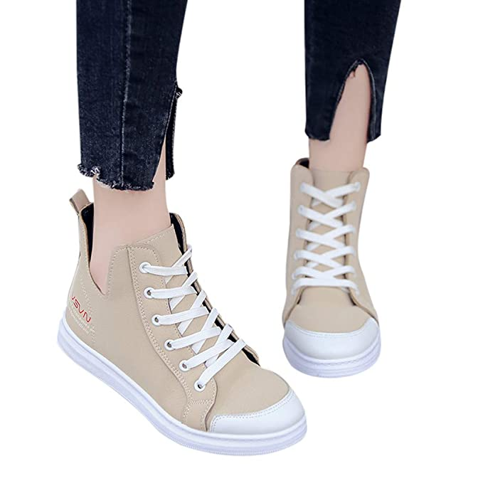 6775801426d4f Amazon.com: Women Fashion PU Sneakers Casual Lace up Flat Shoes High ...