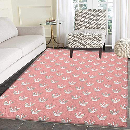 Swan Area Silky Smooth Rugs Hand Drawn Style White Birds on Coral Backdrop with Patterned Wings and Little Hearts Floor Mat Pattern 4'x6' Multicolor ()