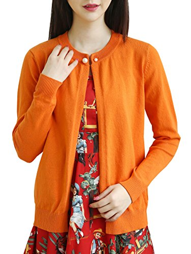 Vintage Classic Cardigan (NianEr Womens Open Front Knit Cardigans Sweater Ladies Short Vintage Cardigans,Orange Cardigan,Large)