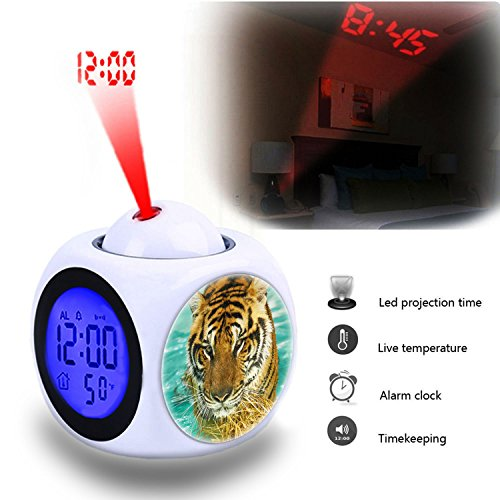 Projection Alarm Clock Wake Up Bedroom with Data and Temperature Display Talking Function, LED Wall/Ceiling Projection,Customize the pattern-791.Tiger, Wild, For, Animal, Beautiful, Face, Water, Wet