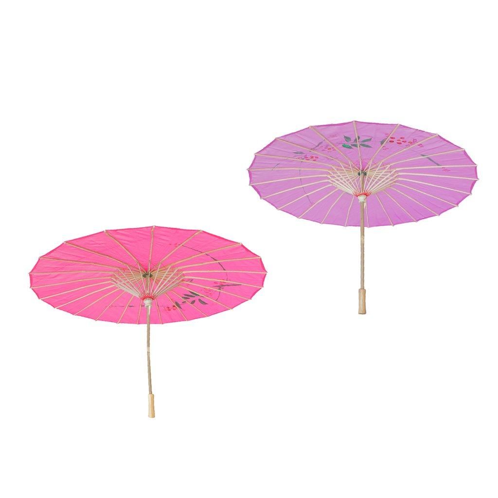 Homyl Pieces of 2 Elegant Women Wooden Handle Cloth Floral Umbrella Dance Prop Rose Red+Purple