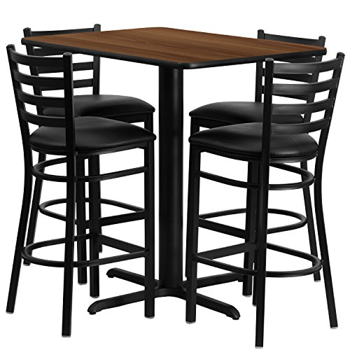 24u0027u0027W X 42u0027u0027L Rectangular Walnut Laminate Table Set With 4 Ladder Back  Metal Barstools   Black Vinyl Seat