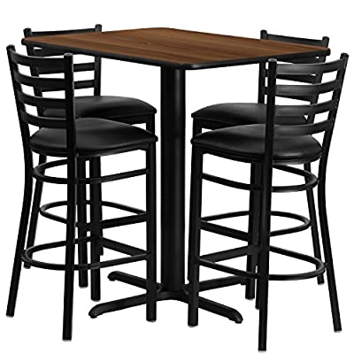 Flash Furniture 24''W x 42''L Rectangular Walnut Laminate Table Set with 4 Ladder Back Metal Barstools - Black Vinyl Seat - Rectangular Table and Metal Restaurant Barstool Set Set Includes 4 Barstools, Rectangle Table Top and X-Base Designed for Commercial and Home Use - kitchen-dining-room-furniture, kitchen-dining-room, dining-sets - 51 caaSuLzL. SS400  -