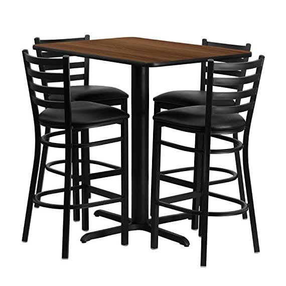 Flash Furniture 24''W x 42''L Rectangular Walnut Laminate Table Set with 4 Ladder Back Metal Barstools - Black Vinyl Seat - Bar Height Table and Stool Set Set Includes 4 Barstools, Rectangle Table Top and X-Base Designed for Commercial and Home Use - kitchen-dining-room-furniture, kitchen-dining-room, dining-sets - 51 caaSuLzL. SS570  -