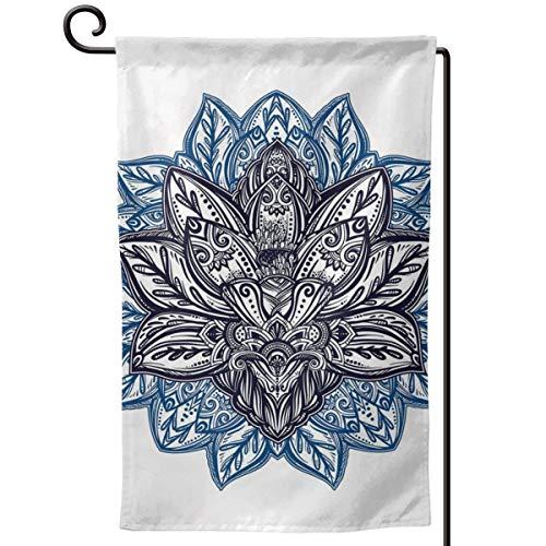 lsrIYzy Garden Flag,Ethnic Paisley Petals Themed Lotus Flower Ethnic Boho Tattoo Illustration,12.5x18.5 inch