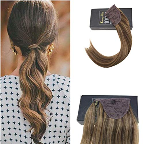 Sunny Highlighted Ponytail Hair Extensions 18 inch Straight Human Hair Piano Color Dark Brown Highlighted Caramel Blonde Natural Hair Ponytail With Clips 80g
