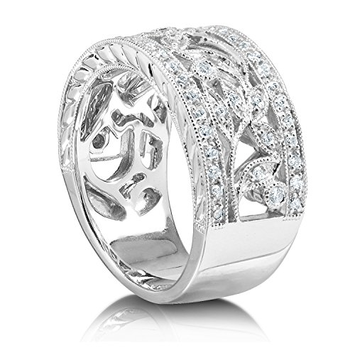 Style vintage Diamant Mode Floral Band 1/4 carats (CT) en or blanc 14 K _ 10.5
