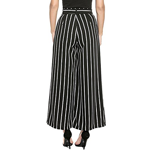 - MILIMIEYIK Palazzo Pants for Women Petite, Blouse Plus Size Wide Leg Pleated Loose Belted High Waist Casual Stripe Pants Black