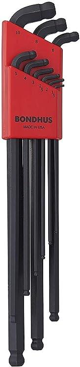 BONDHUS SDBLX 9 MMXL Stubby double Ballend Clé Hexagonale Longue Série Set 1.5MM-10MM 6709