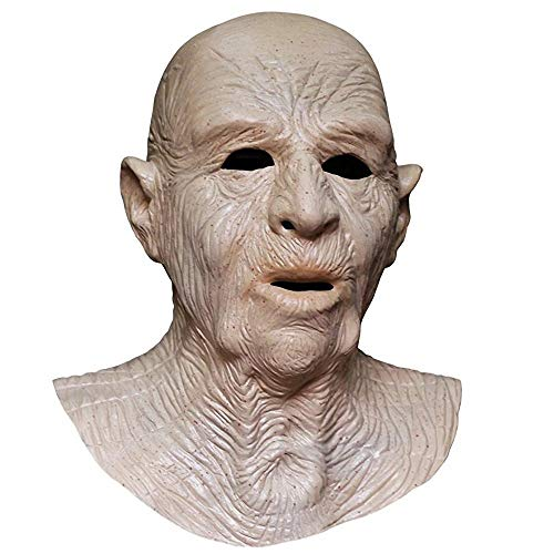 Realistic Old Man with Wrinkle Face Halloween Mask for Men Horror Male Party Costume Disguise Prop