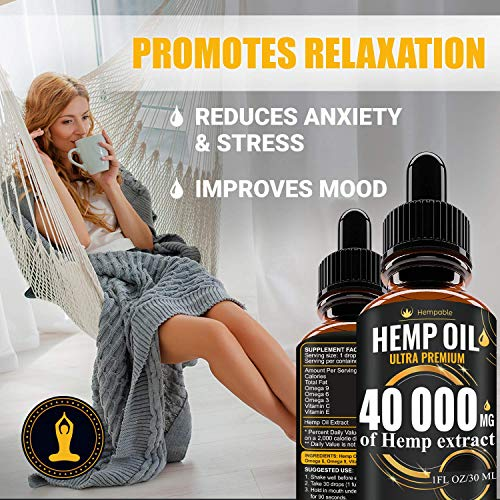 51 cbLdqIaL - Hemp Oil Drops 40 000 mg, Co2 Extracted, Made in USA, Help Reduce Stress, Anxiety and Pain, 100% Natural Ingredients, Vegan Friendly, GMO Free