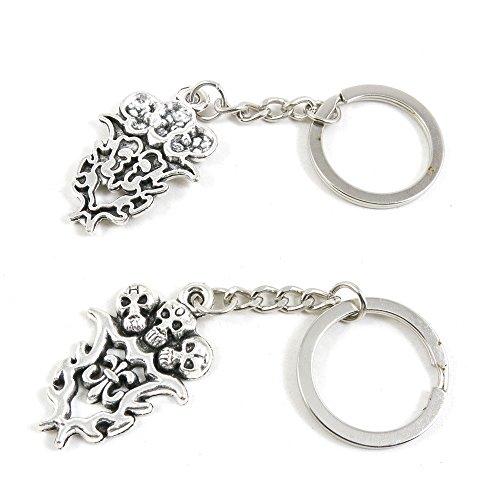 (100 PCS Arts Crafts Fashion Jewelry Making Findings Key Ring Chains Tags Clasps Keyring Keychain M5QW2U Fleur De Lis Fire Skulls )