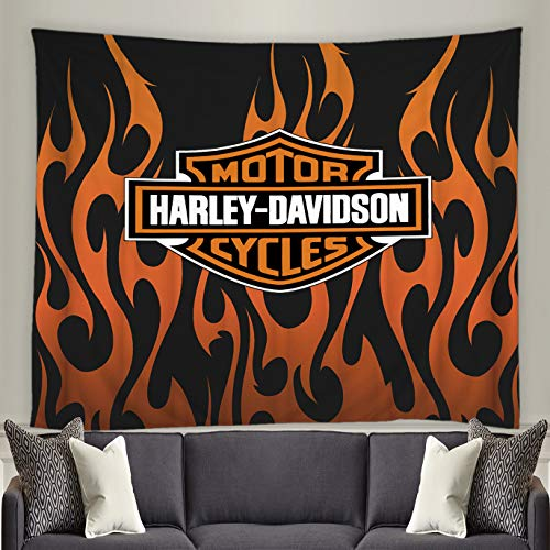 (Motor Cycles Harley-Davidson Tapestry Orange and Black Flame Background Cartoon Living Room Bedroom Wall Decor Background Polyester Cloth Creative Pattern Decorative Curtain 60 x 60)