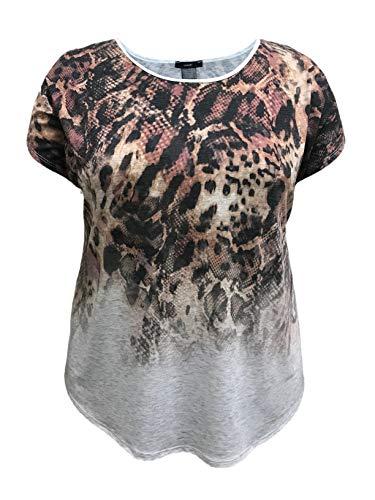 LEEBE Women's Plus Size Dolman Short Sleeve Print Top (1X-5X) (1X, Cheetah (Light Grey)) (87 Top)