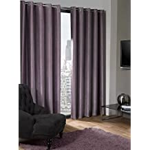 Logan Aubergine Purple Eyelet Ring Top Thermal Blackout Curtains Fully Lined 46x72 Inches 117cmx183cm Drop