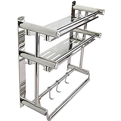 PNBBStainless Steel 3-Tier Shelf with Towel Bars,Bathroom Shower Caddy,Bathroom Storage Holder Dual Tier (Bathroom Stand Up Sink)