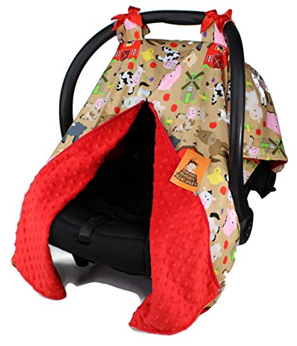 Dear Baby Gear Baby Car Seat Canopy, Tan Farm Life Animals and Barns, Red Minky (Covers Print Seats Car Animal)