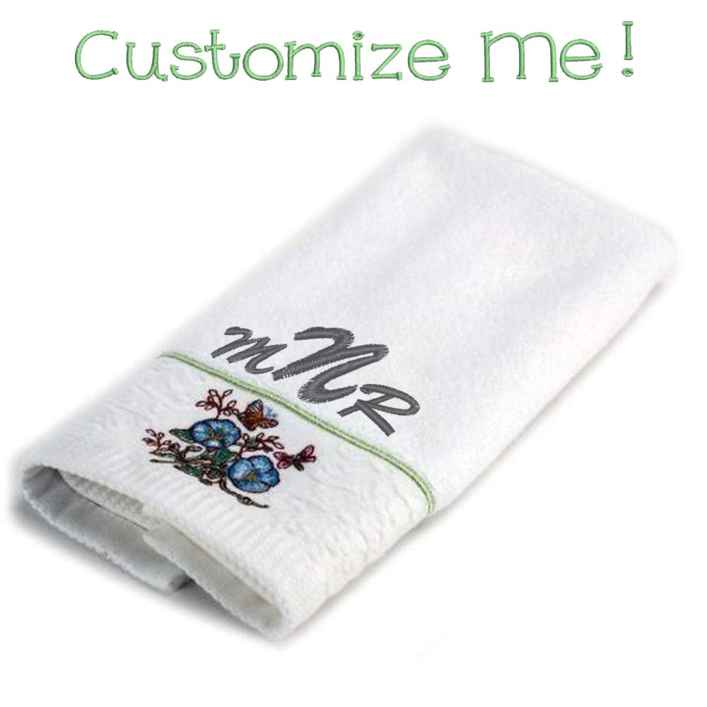 Blue Flower 7256 Lenox Butterfly Meadow Embroidered Hand Towel