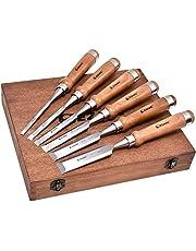 EZARC 6st houten beitel set voor houtbewerking - CRV staal met walnoot handvat in houten presentatiedoos