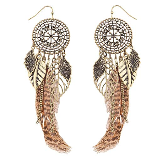 Lux Accessories Burnished GoldTone Dream Catcher Feather Leaf Dangle Earring -