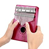Dilwe Kalimba Thumb Piano, 17Key Kalimba Thumb Finger Piano Wooden Toy for Music Lovers Beginners(Rose Red)