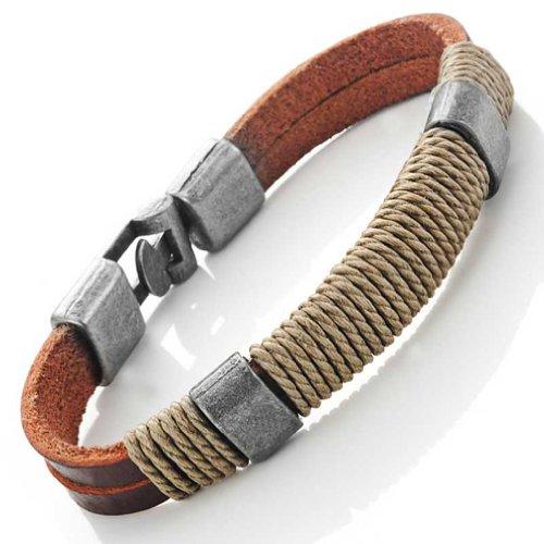 Leather Wound around Nature Thread Bracelet