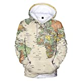 Sunhusing Women's Long Sleeve Pocket World Map Print Casual Round Neck Hooded Sports Sweater Hoodie Top Beige