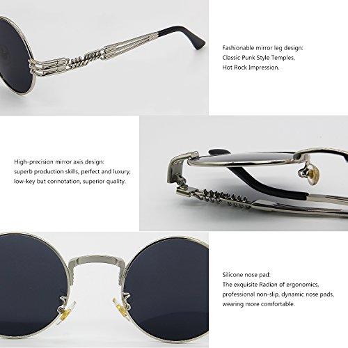 de Redondo Gris Plateado Metal Marco de Gafas Sol de Vendimia Steampunk Marco AMZTM Gafas Lente Oqx1vA8