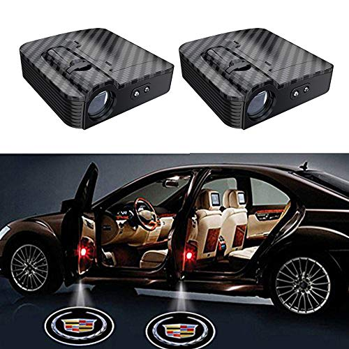 2PCS Carbon Fiber Wireless Universal Car Projection LED Projector Door Shadow Logo Light Welcome Lamps For Cadillac