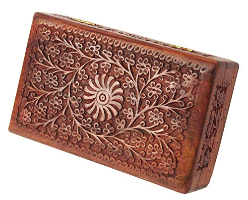 Artisans Of India Wooden Jewelry Box Trinket Keepsake Boxes Watch Necklace Money Organizer Treasure Chest with Handcarved Floral Motif
