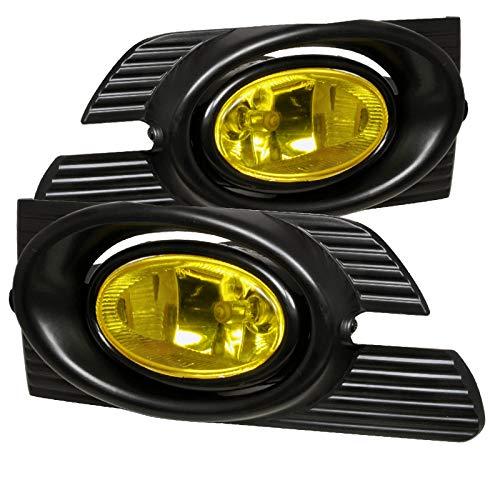(Carpartsinnovate For 01-02 Honda Accord 4Dr Sedan Yellow Fog Lights Driving Bumper Lamps+Switch)