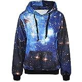 Pandolah Neon Cosmic Galaxy Print Active Hoodies Sweatshirts