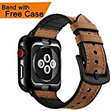 OUHENG for Apple Watch Band 42mm with Case, Soft TPU Case with Retro Genuine Leather Band and Rubber Hybrid Sweatproof iWatch Replacement Strap for Apple Watch Series 3 2 1 Sport and Edition, Brown