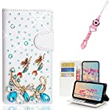 EVTECH Essential Phone PH-1 with Lanyard Neck Strap, [Stand Feature] Butterfly Wallet Case Premium [Glitter Luxury] Leather Flip Cover [Card Slots] for Essential Phone PH-1
