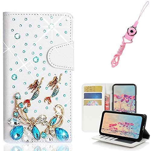 EVTECH Essential Phone PH-1 with Lanyard Neck Strap, [Stand Feature] Butterfly Wallet Case Premium [Glitter Luxury] Leather Flip Cover [Card Slots] for Essential Phone PH-1 by EVTECH