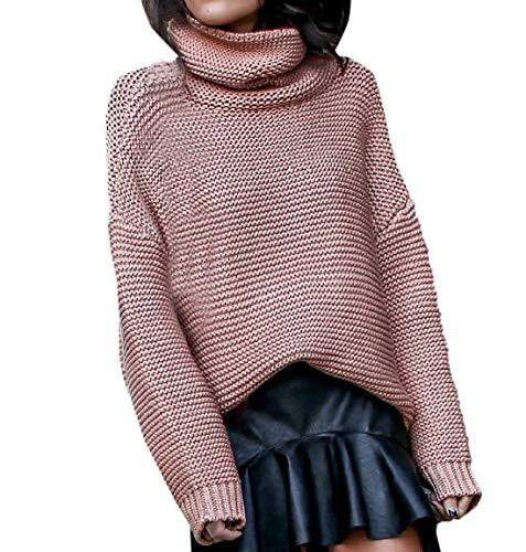 Simple-Fashion Autunno e Inverno Donna Maglione Moda Tinta Unita Tops Sweater Bluse Quotidiani Jumper Casual Collo Alto Manica Lunga Cime Maglieria Pullover Rosa Chiaro