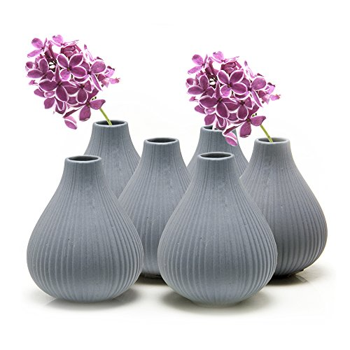 """Chive - Set of 6 Frost, 3"""" Wide 3.5"""" Tall Round Clay Pottery Flower Vase, Decorative Vase for Home Decor Living Room Office and Place Settings - Bulk Blue Grey"""