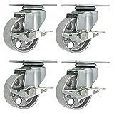 4 All Steel Swivel Plate Caster Wheels w Brake Lock Heavy Duty High-gauge Steel Gray (4'' METAL SWIVEL CASTER W/ LOCK GRAY)