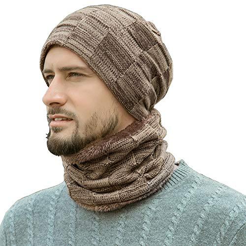 Winter Beanie Hats Scarf Set Warm Knit Hats Skull Cap Neck Warmer with Thick Fleece Lined Winter Hat & Scarf for Men Women Khaki
