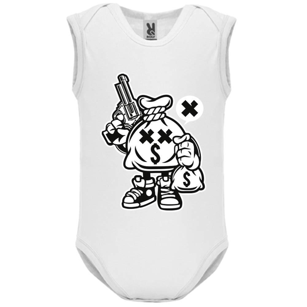 LookMyKase Body bébé - Manche sans - Money Takers - Bébé Garçon - Blanc - 12MOIS