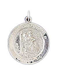 14K Yellow Gold Saint Christopher Coin Pendant Necklace - 25 mm
