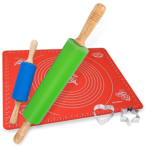 Silicone Rolling Pin And Mat & Bonus Cookie Cutters Set: Large Silicone Rolling Pin, Small Silicone Rolling Pin, 1 Large Silicone Mat For Roller Dough, 2 Stainless Steel Cookie Cutters