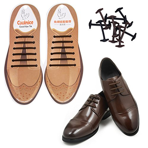 Coolnice No Tie Shoe Laces for Men and Women Silicone Elastic Waxed Thin Oxford Round Shoelaces for Dress and Leather Shoes Brown Mix Size 12pcs