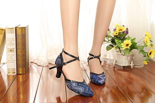 Minishion Gl248 Da Donna Con Stampa Glitter Da Ballo Scarpe Da Ballo Latino Scarpe Da Sera Blu-tacco 6cm