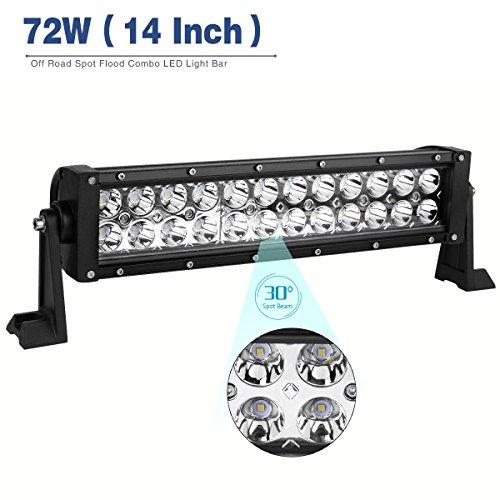 Yitamotor 2Pcs 14 Inch 72W Led Light Pod Spot Flood Combo Led Wor Led Light Bar