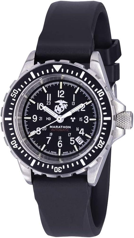 Marathon Watch GSAR Swiss Made Military Issue Diver s Automatic Watch with Tritium 41 mm, USMC Markings WW194006USMC