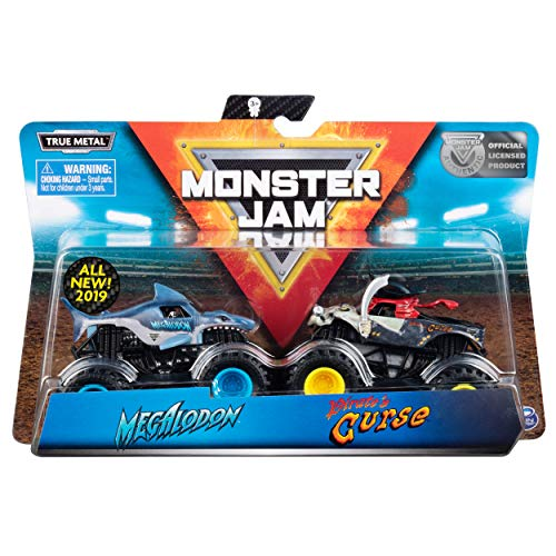 Monster Jam Megalodon vs Pirate's Curse Die-Cast Monster Trucks, 1:64 Scale, 2 Pack (The Curse Of The Black Pearl Cast)