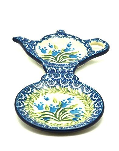 Polish Pottery Tea Bag & Mug Holder - Blue Bells