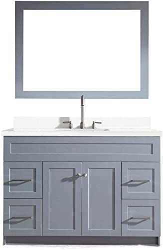 ARIEL 49 Inch Single Vanity Set in Grey with Pure White Quartz Counter-top 2 Soft Closing Doors 4 full Extension Dovetail Drawers Built in Toe Kick 49 x 22 x 35