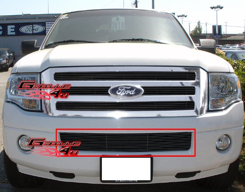 (APS Compatible with 2007-2014 Ford Expedition Bumper Black Billet Grille Grill Insert N19-H53356F)